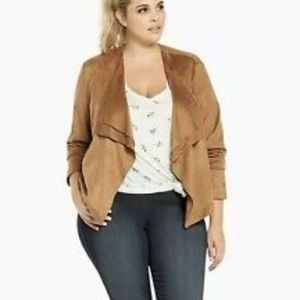 Cascading Faux Suede Jacket
